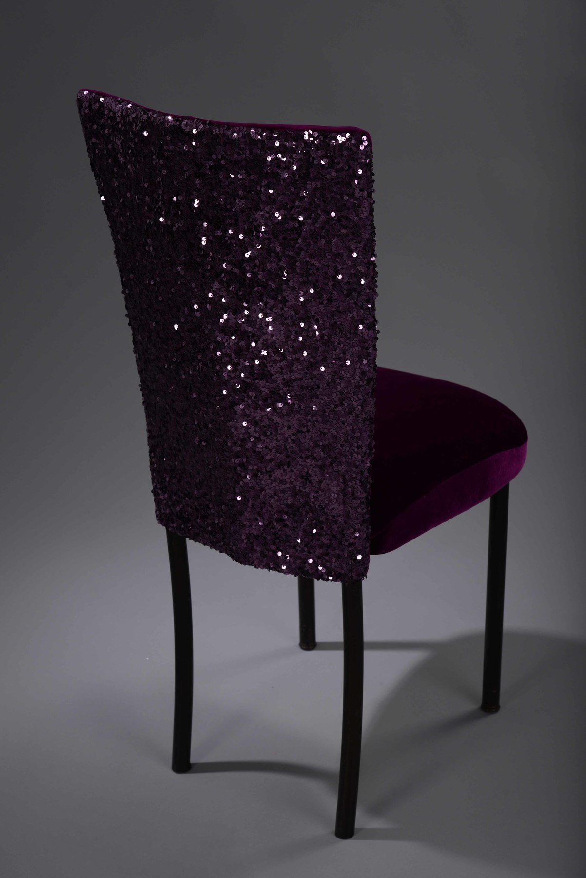 purple dining chair covers desk lower back pain sequin taffeta chameleon cover nüage designs