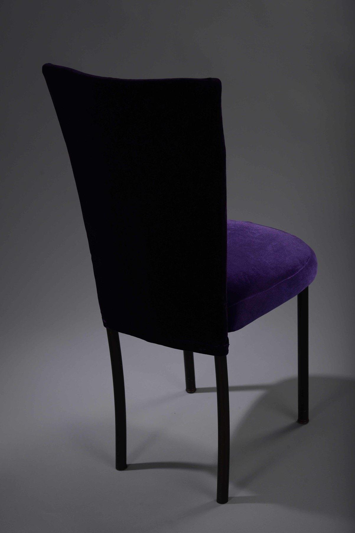 purple dining chair covers bean bag gaming velvet chameleon  cover nüage designs