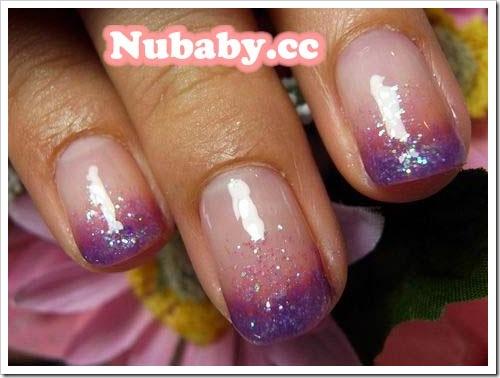 美甲作品-紫色夢幻 粉紅甜心 雙色繽紛 龐客法式