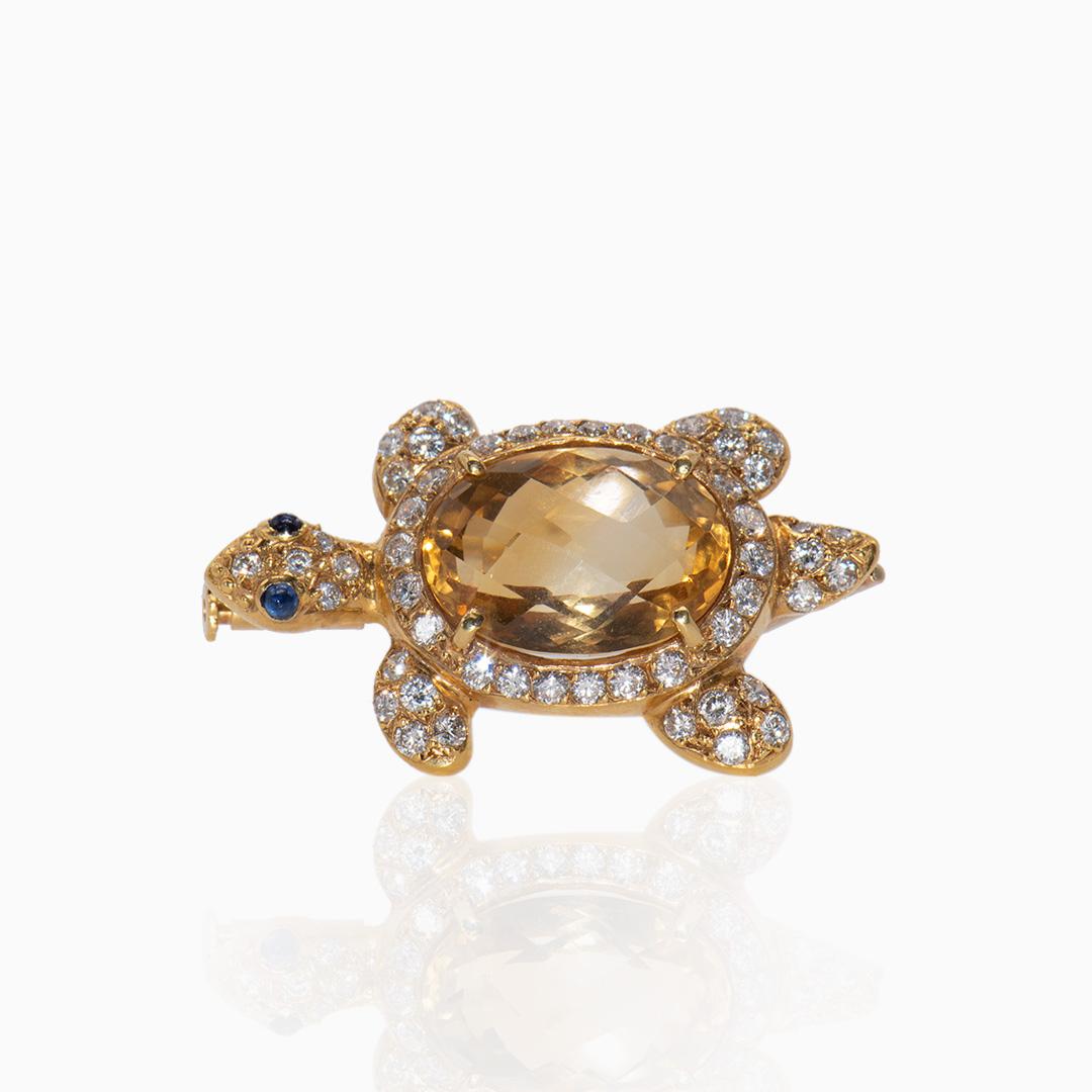 Broche de Oro Citrino, Diamantes y Zafiros en forma de Tortuga