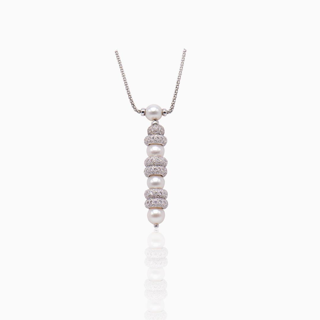 Colgante Oro Blanco Diamantes y Perlas Australianas