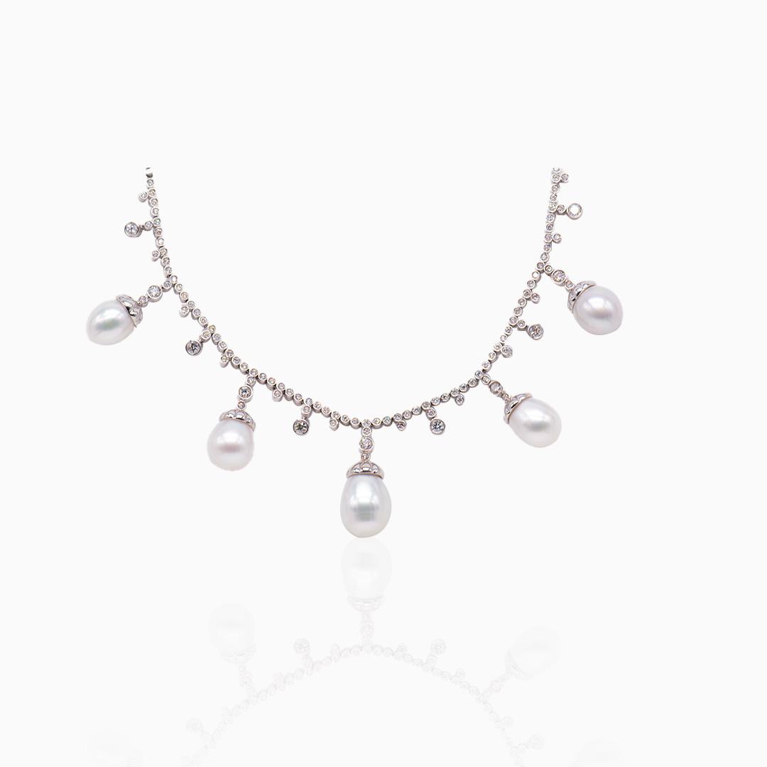 Collar Oro Blanco Diamantes y Perlas