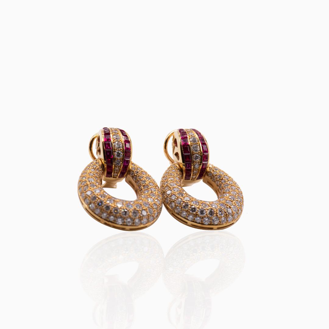 Pendientes Oro Rubíes y Diamantes