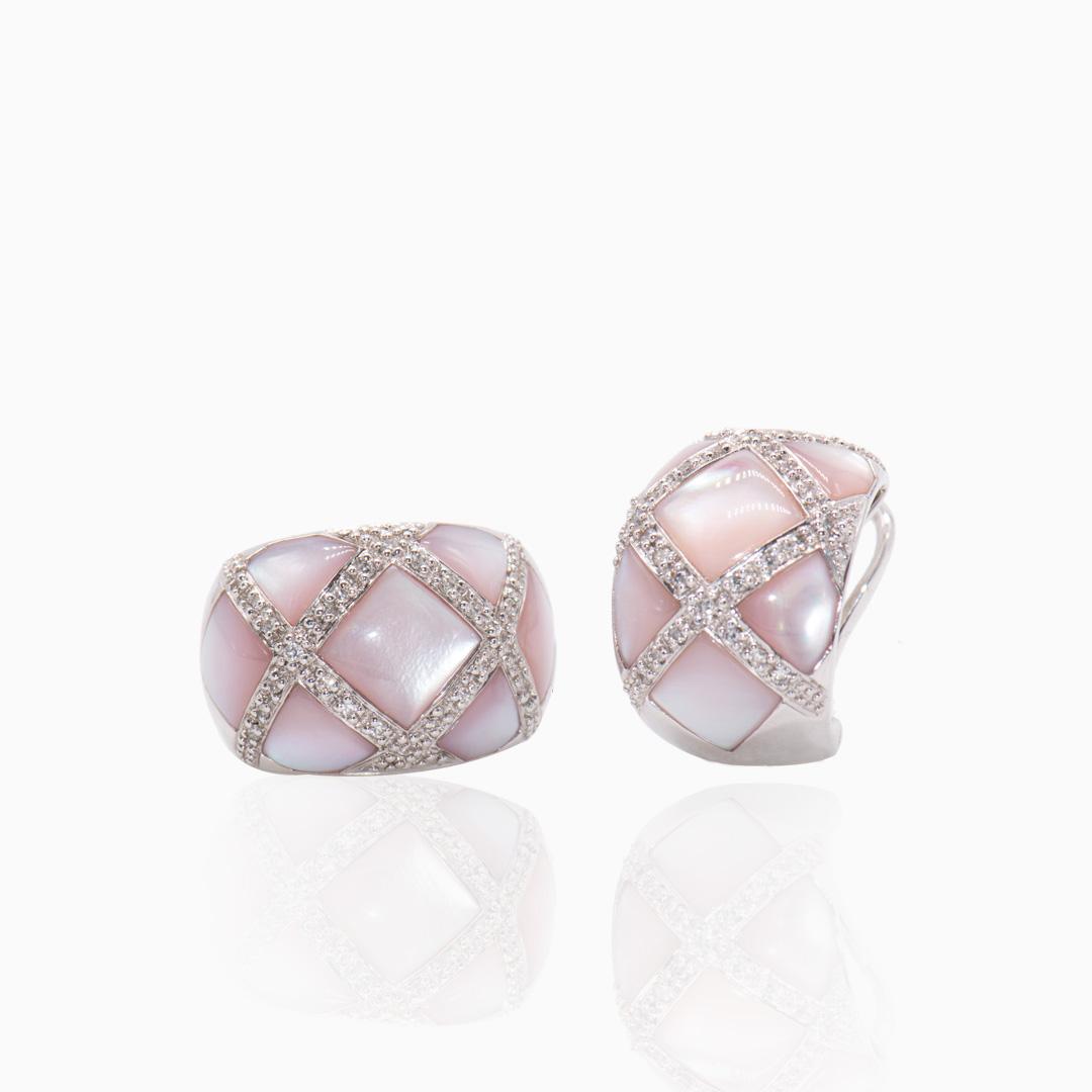 Pendientes Oro Blanco Nácar y Diamantes
