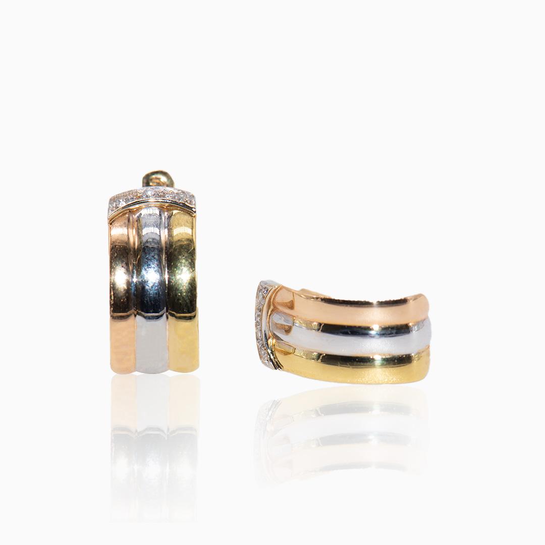 Pendientes de Oro y Oro Blanco con Diamantes