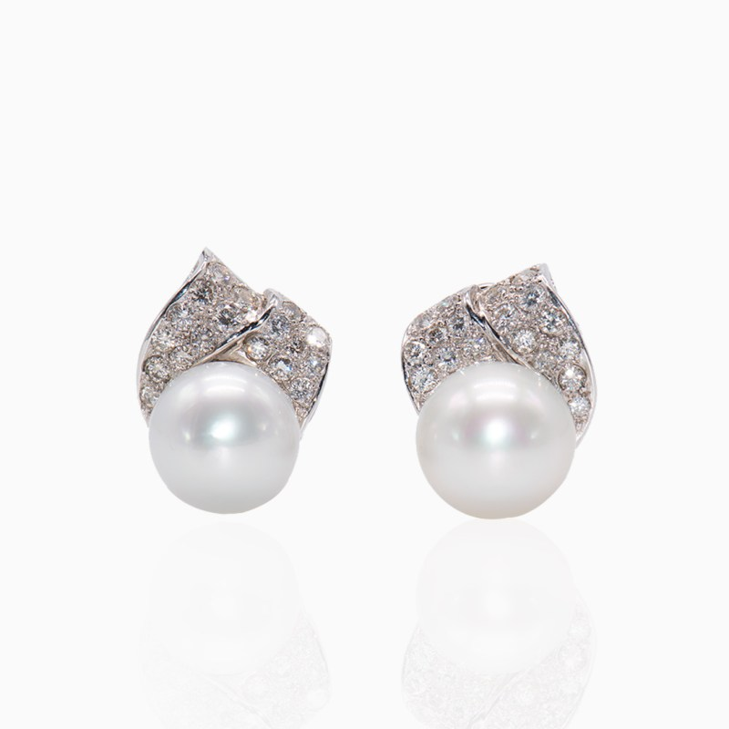 Pendientes Oro Blanco Perla Australiana y Diamantes