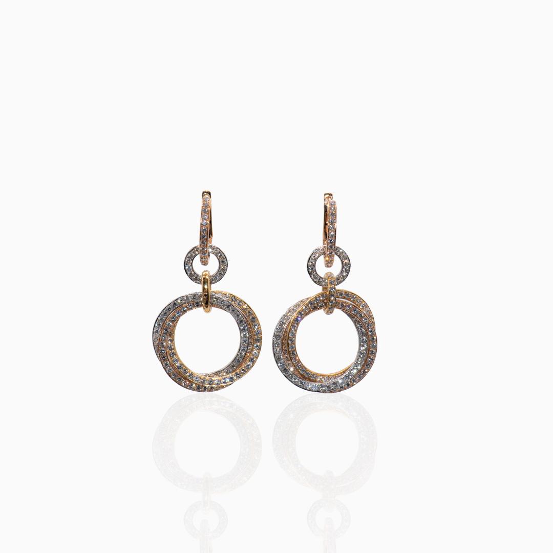 Pendientes de Oro Oro Rosa Oro Blanco y Diamantes