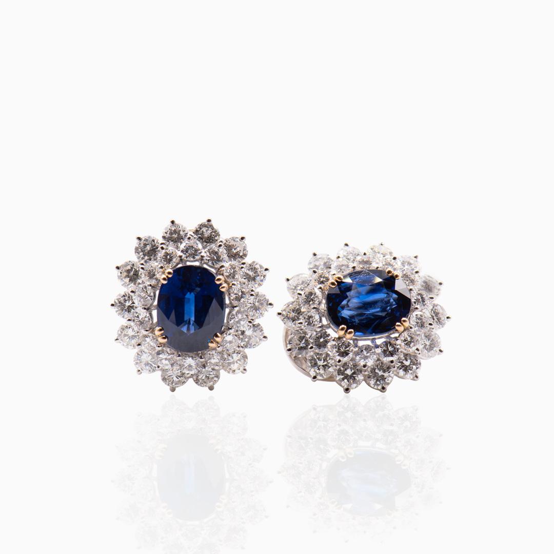 Pendientes Platino Zafiros y Diamantes
