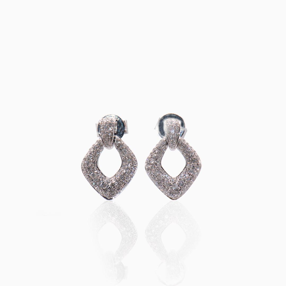 Pendientes Oro Blanco y Diamantes en Rombo