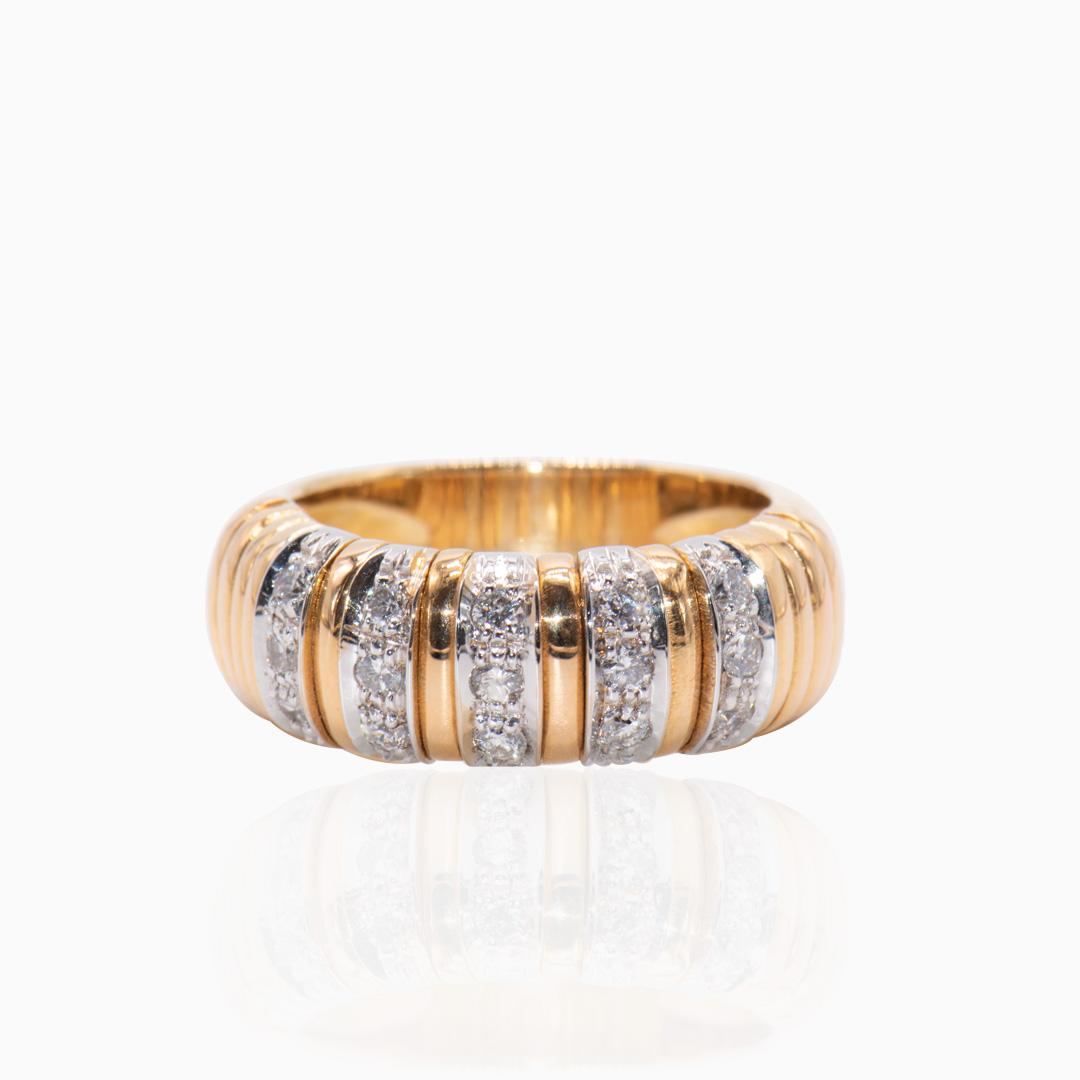 Anillo Oro y Oro Blanco con Diamantes
