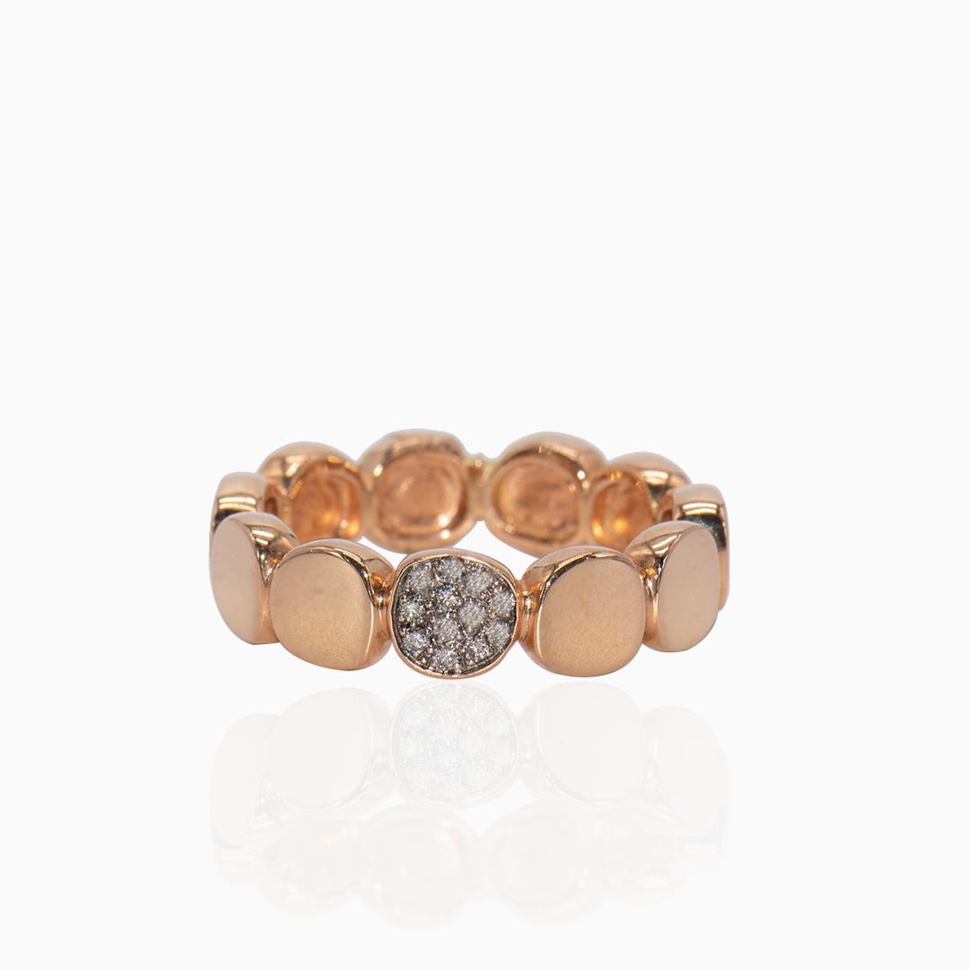 Anillo Oro Rosa y Diamantes tipo Alianza