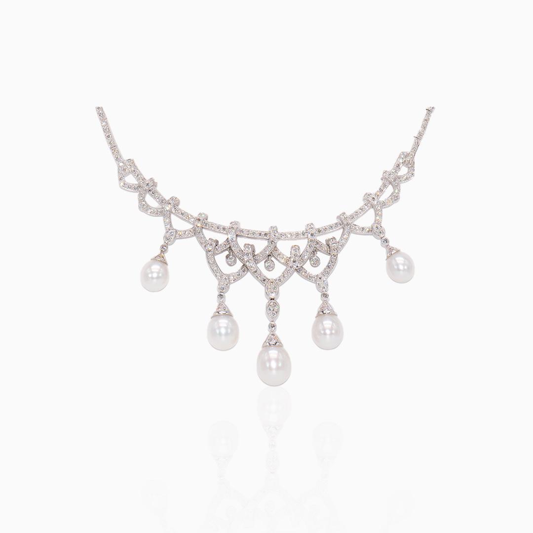 Gargantilla Oro Blanco Perlas y Diamantes