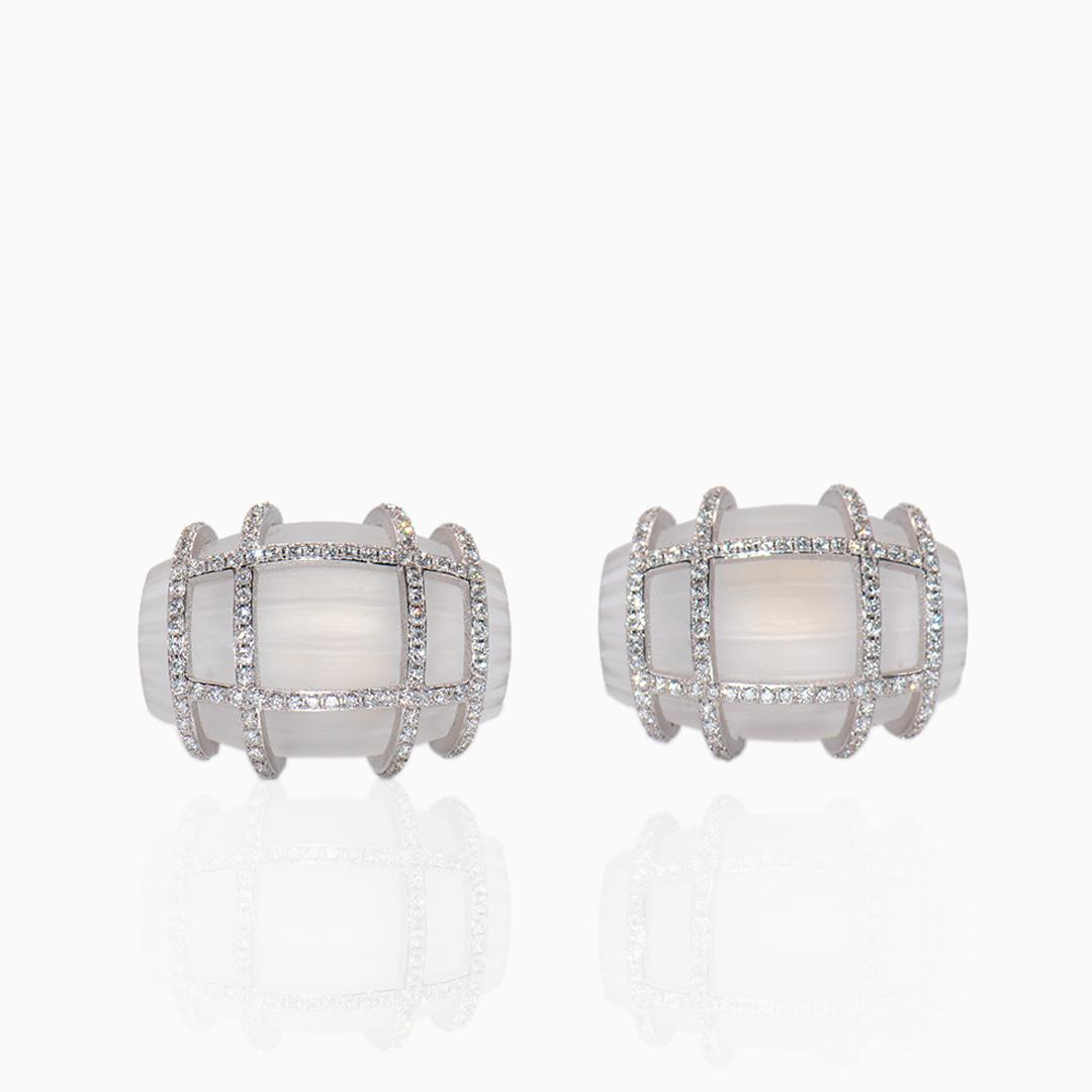 Gemelos Oro Blanco Cristal Roca y Diamantes