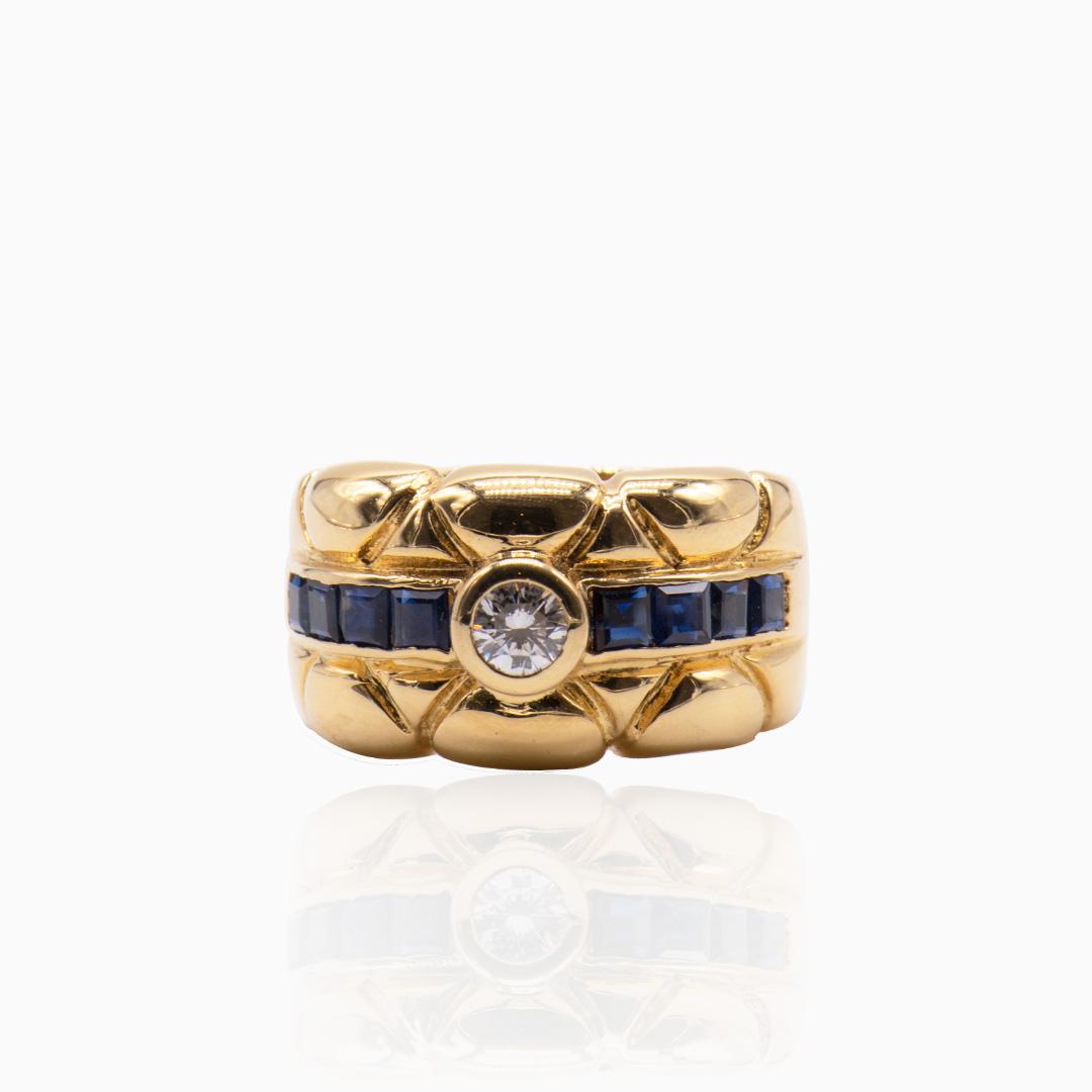 Anillo de Oro Zafiros y Diamante