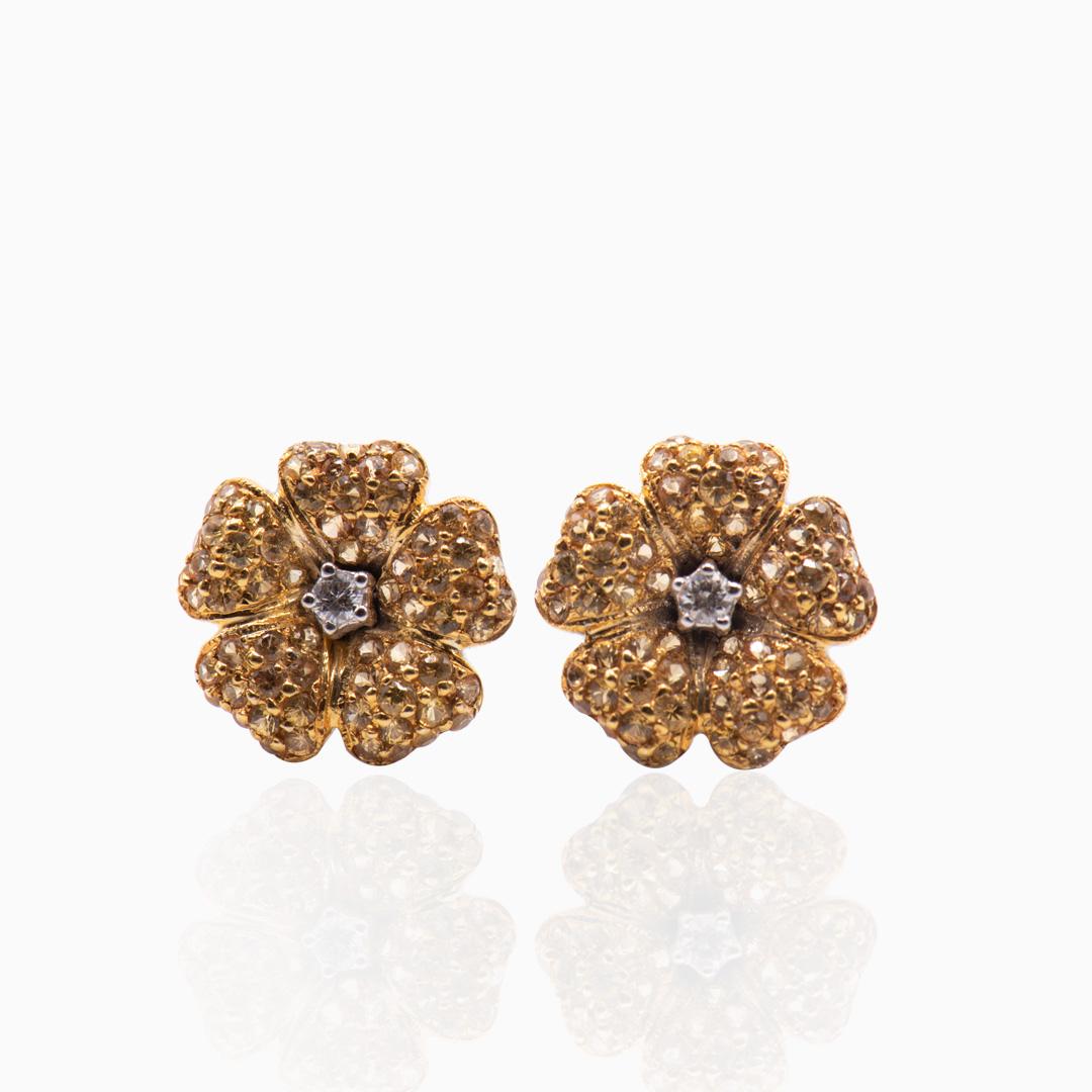 Pendientes Oro Zafiros Amarillos y Diamantes