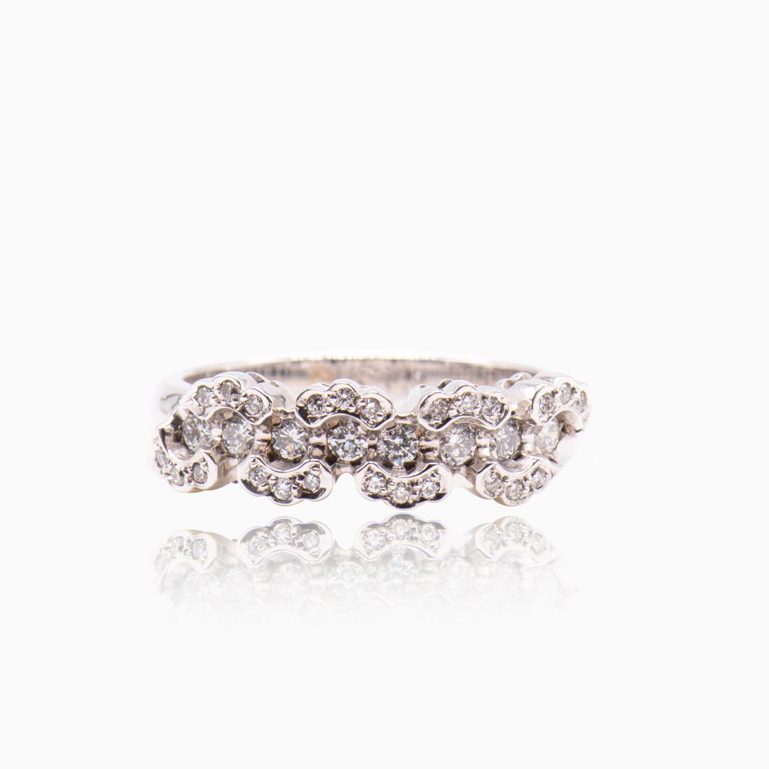Anillo Oro Blanco y Diamantes tipo Alianza