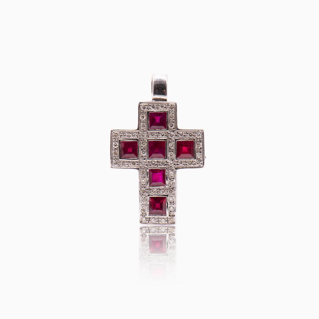 Cruz Oro Blanco Zafiros o Rubíes y Diamantes