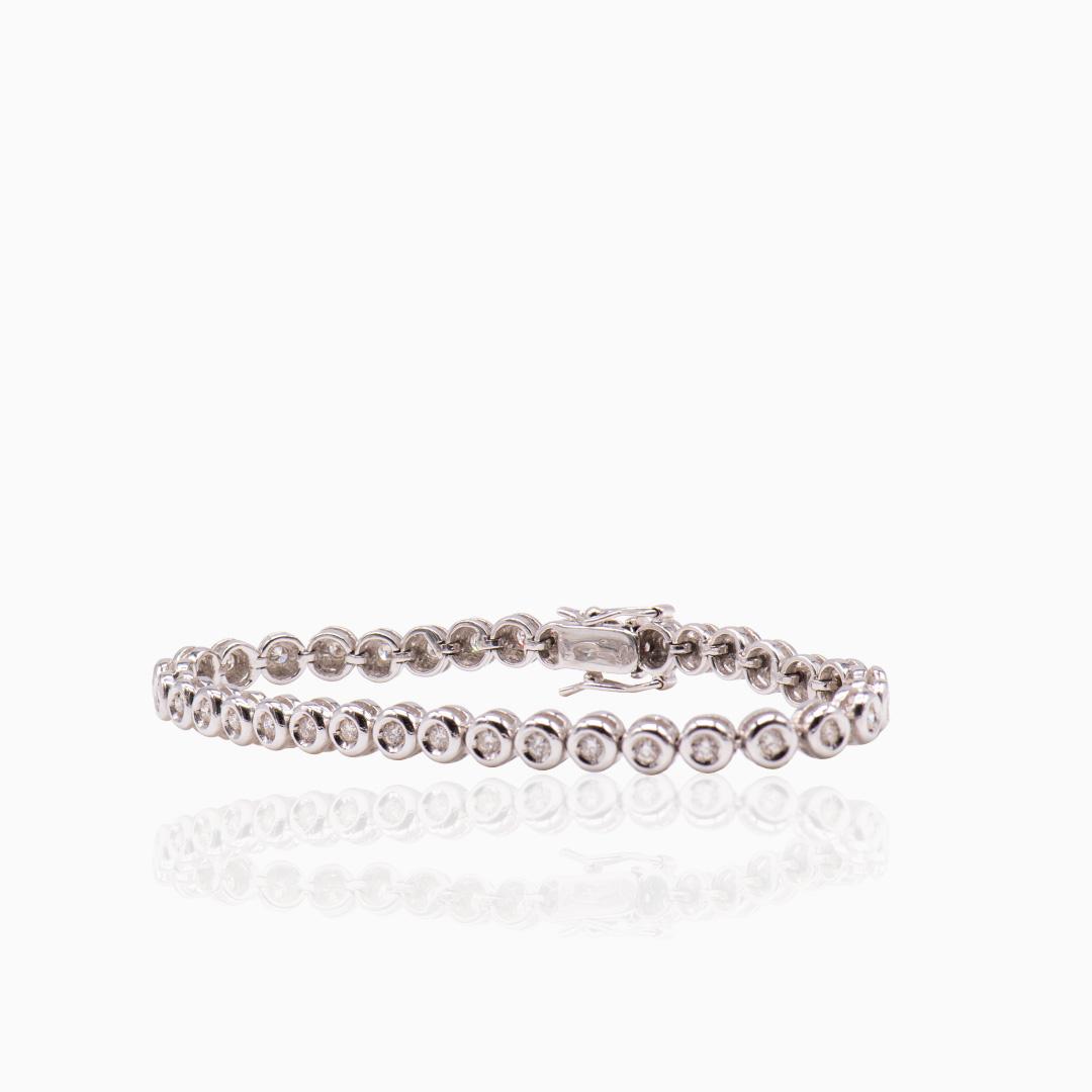 Pulsera Chatones Oro Blanco y Diamantes