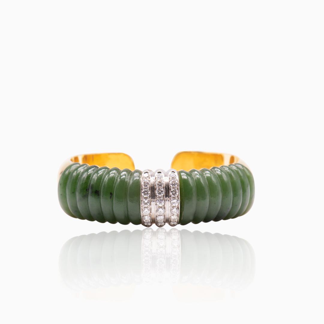 Pulsera de Oro Oro Blanco Diamantes y Jade