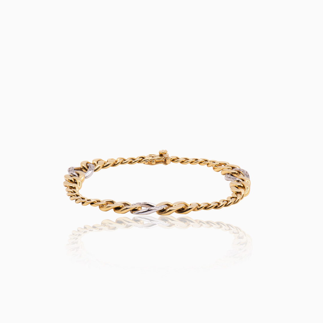 Pulsera de Oro y Oro Blanco con Diamantes