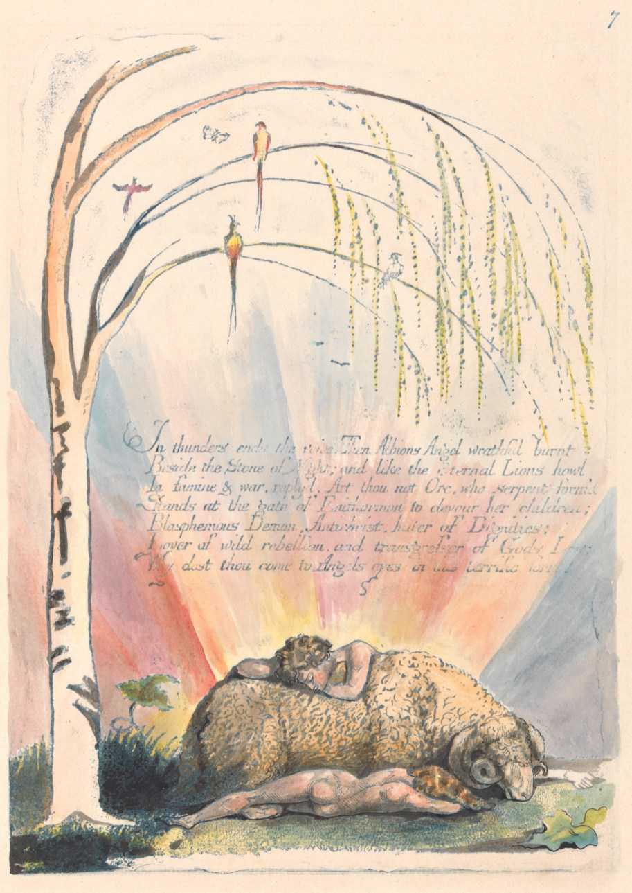 "William Blake, 1757–1827, British, America. A Prophecy, Plate 9, ""In Thunders Ends the Voice...."", 1793, Color-printed relief etching in blue with pen and black ink and watercolor, Yale Center for British Art, Paul Mellon Collection"