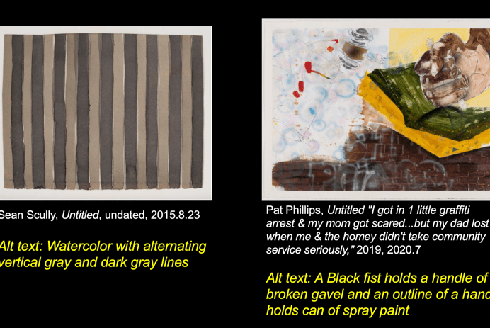 Slide showing two images from The Block's Collection with examples of alt texts.