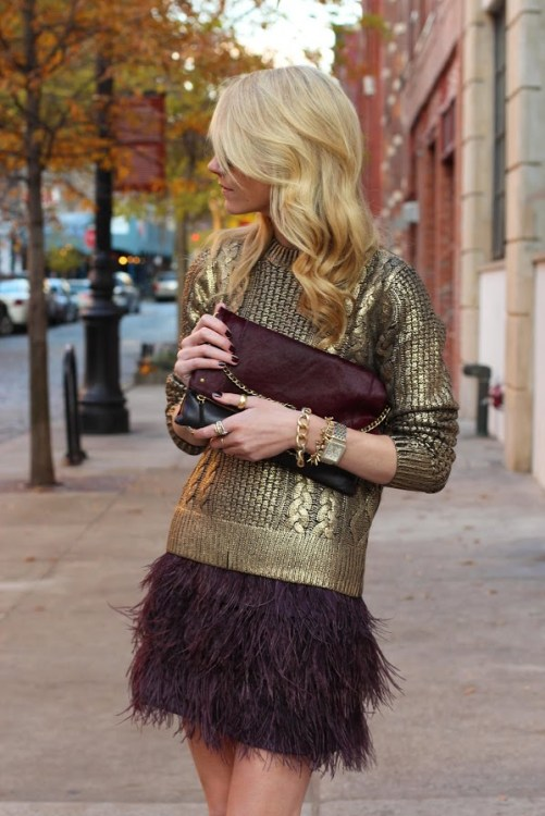 Michael Kors metallic gold cable knit sweater purple burgundy feather skirt atlantic pacific