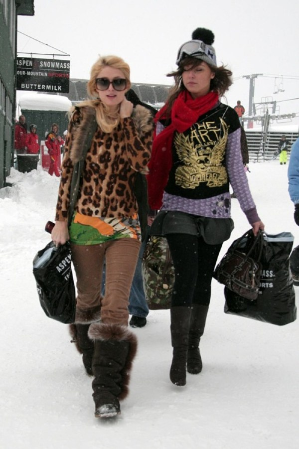 Brittany Flickinger accompanies her BFF Paris Hilton as they head home after a day on the snowy slopes of Aspen