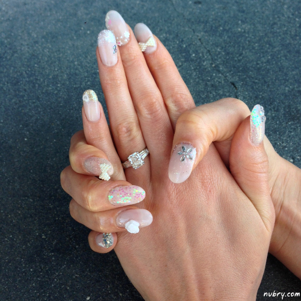 Pretty bridal nails with 3d nail art and white rose for my wedding click to share on twitter opens in new window prinsesfo Gallery