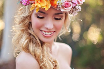 wedding flower ideas - flower crown for bride