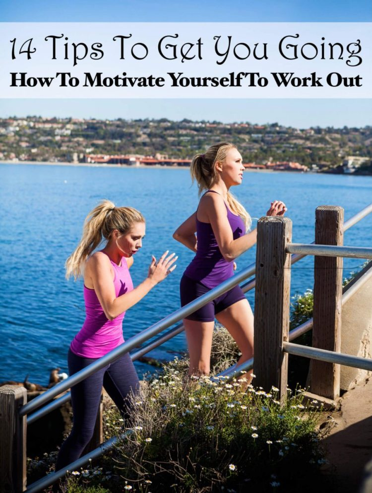 how to motivate yourself to work out - 14 tips to get you exercising. Nubry sisters running stairs by La Jolla cove.