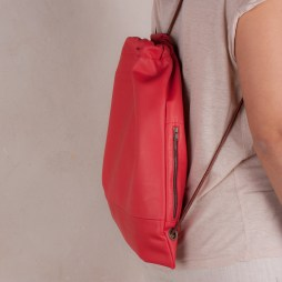 aplicat Leather backpack red Usual mochila de cuero rojo nubuckcuir laptop case biggest ruscksack