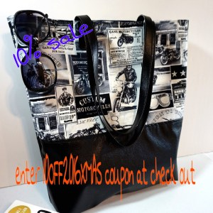 Motorcycle Newsprint Large Tote Bag, Large tote Shoulder Bag