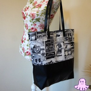 Motorcycle Newsprint Large Tote Bag, Large tote Shoulder Bag