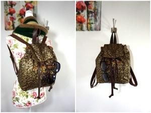 Ditsy Rose Black Metallic Backpack
