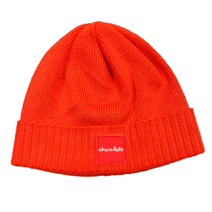 Chocolate Red Square Fold Beanie Orange