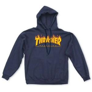 Thrasher Flame Logo Hoodie Navy Small