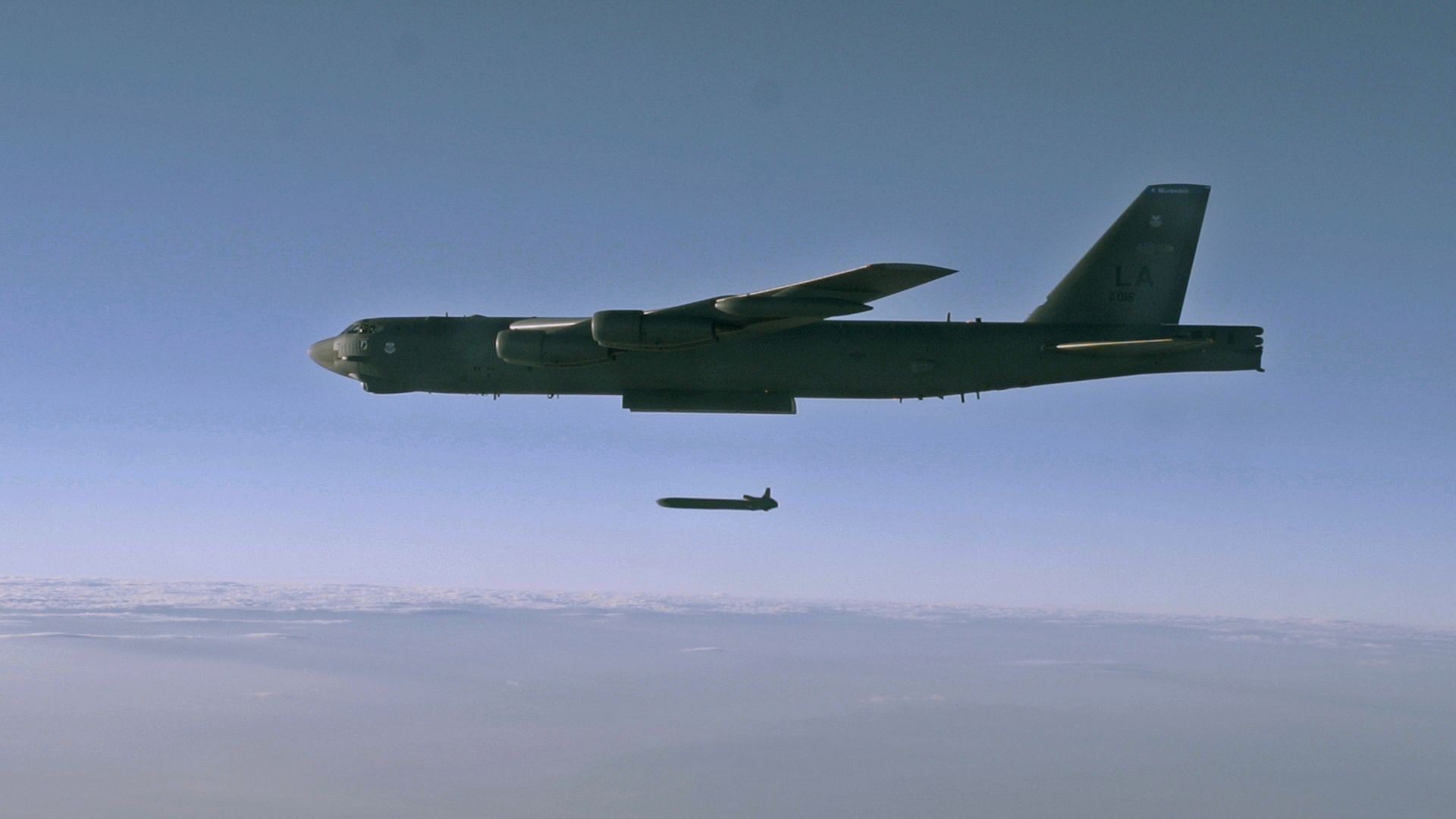An unarmed AGM-86B Air-Launched Cruise Missile is released from a B-52H Stratofortress Sept. 22, 2014, over the Utah Test and Training Range during a Nuclear Weapons System Evaluation Program sortie.