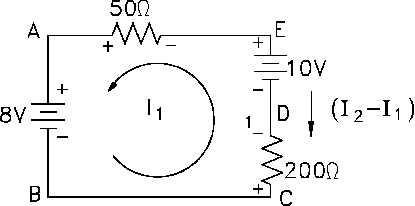 Figure 40 Applying Voltage Law to Loop 1