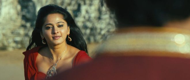 Actress Anushka hot Cleavage in Thandavam movie Fake Boobs