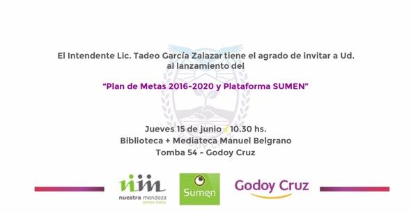 Godoy Cruz presenta su Plan de Metas 2016-2020 y  SUMEN el próximo 15 de Junio