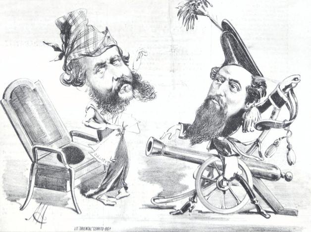 Caricatura detalle de la portada del periódico uruguayo La Ortiga y el Garrote No 2 (Diciembre 14, 1873). Se puede observar un énfasis en mostrar el estilo de pelo facial para representar a los personajes políticos. Colección: Publicaciones Periódicas del Uruguay.