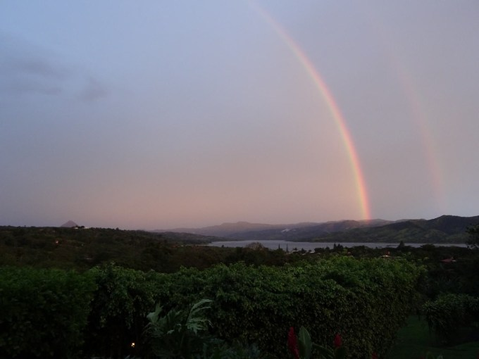 Double rainbow over Lake Arenal and Arenal Volcano