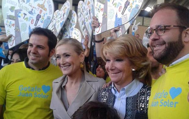 Rubén Maireles y Fernando Lázaro flanqueando a Cristina Cifuentes y a Esperanza Aguirre en el acto de presentación de candidatos a Alcaldes