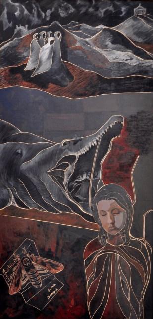 Lucía Bellusci. Sueño dentro de sueño, técnica mixta sobre fibrofácil. 112 x 80 cm. 2013. Selección del jurado