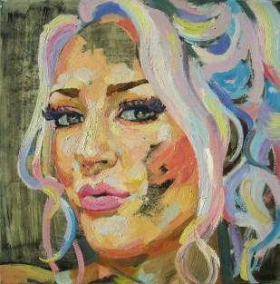 Astrid Pawliska. Retrato de Kagney Linn Karte, óleo sobre tela. 50 x 50 cm. 2013. Selección del jurado