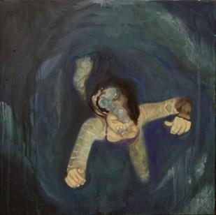 Mayra vom Brocke. Niña nadando, óleo sobre lienzo. 70 x 70 cm. 2013. Selección del público: 878 votos