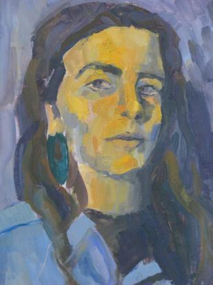 Natalia Zayat. Autorretrato, óleo sobre madera. 40 x 60 cm. 2012. Selección del jurado