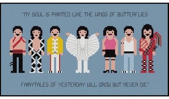 Freddie Mercury cross stitch pattern