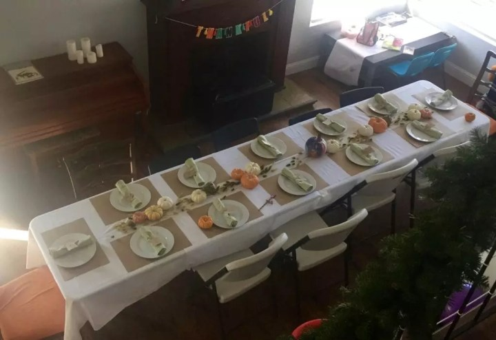 Thanksgiving table from above